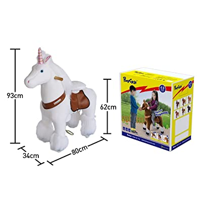 PonyCycle Official Riding Unicorn White Horse Giddy up Pony Plush Toy Walking Animal for Age 4-9 Years Medium Size - N4042: Toys & Games