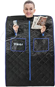 Itaar Portable Far Infrared Sauna, One Person Saunas for Home Spa with Foot Pad and Foldable Chair, 60 Minutes Timer (Black & Blue)