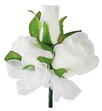 Amazon white silk rose corsage wedding corsage prom home white silk rose corsage wedding corsage prom mightylinksfo