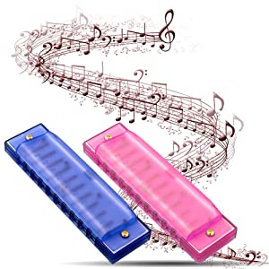 Koogel 2 PCS Translucent Kids Harmonica,10 Hole Children Harmonicas Educational Toys for Beginners Kids Party Holidays(Blue,Pink) (Color: Pink Blue)
