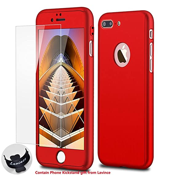 on sale b9a01 cf15c iPhone 7 Plus Case,Lavince Full Body Protection Hard Slim Cover[Dual  Layer]with Tempered Glass Screen Protector for iPhone 7 Plus 5.5inch(Red)