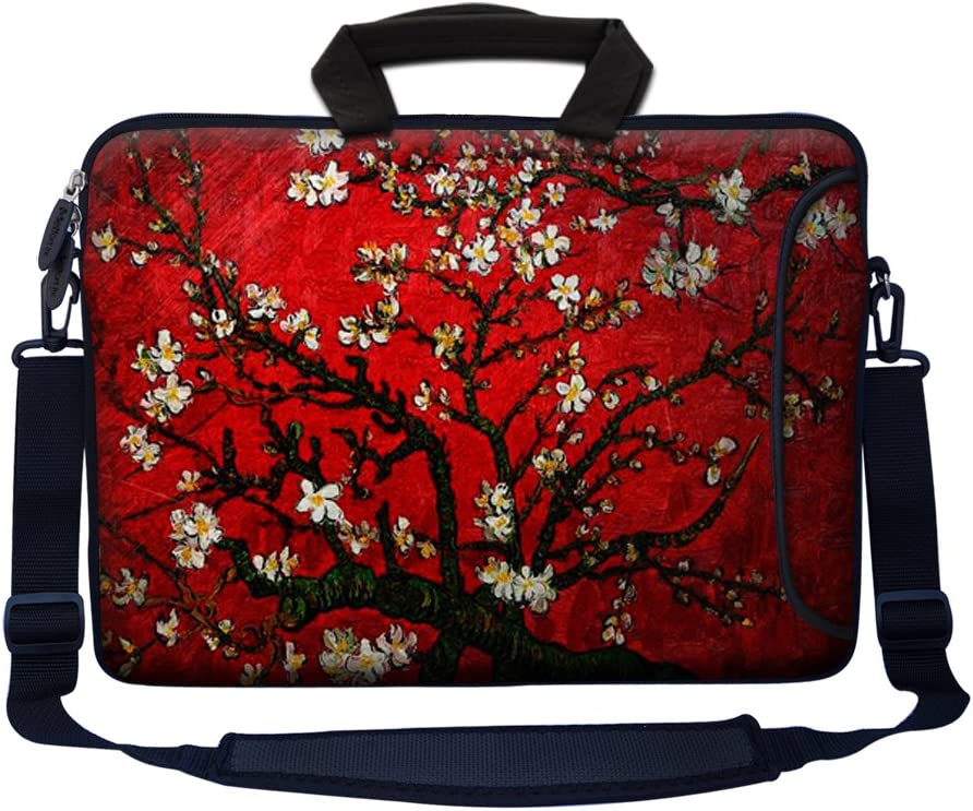 """Meffort Inc 15 15.6 inch Neoprene Laptop Bag Sleeve with Extra Side Pocket, Soft Carrying Handle & Removable Shoulder Strap for 14"""" to 15.6"""" Size Notebook Computer - Vincent van Gogh Cherry Blossoming"""