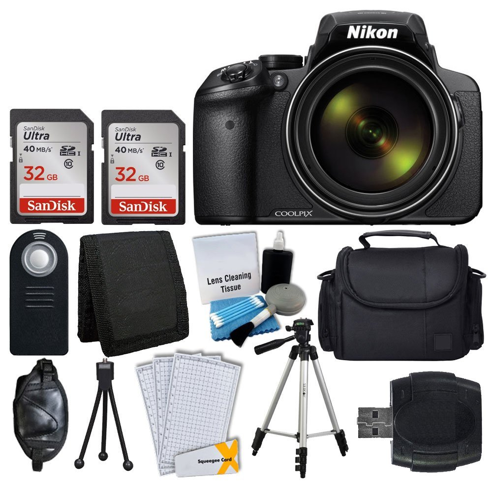 Nikon COOLPIX P900 Digital Camera + Transcend 2x 32GB Memory Card(64GB) + Wireless Remote + Digital Camera/Video Case + Cleaning Kit + Complete Accessory Bundle - International Version (No Warranty) by Nikon