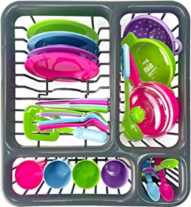 OUO Kids Super Durable Kitchen Toys Set, Pretend Play Children's Dish Toy, Wash and Dry Tableware Dish Rack with Drainer (Great Gift for Kids) (27 Pieces)