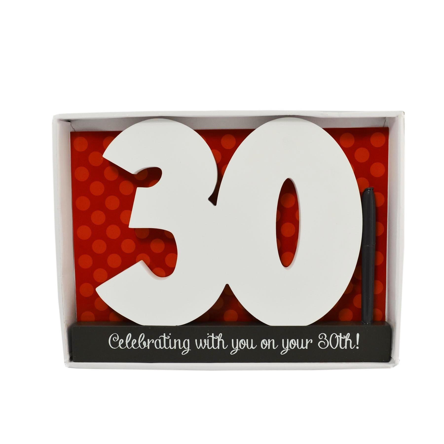 ukgiftstoreonline 30Th Birthday Black And White Wood Signature Block With Pen