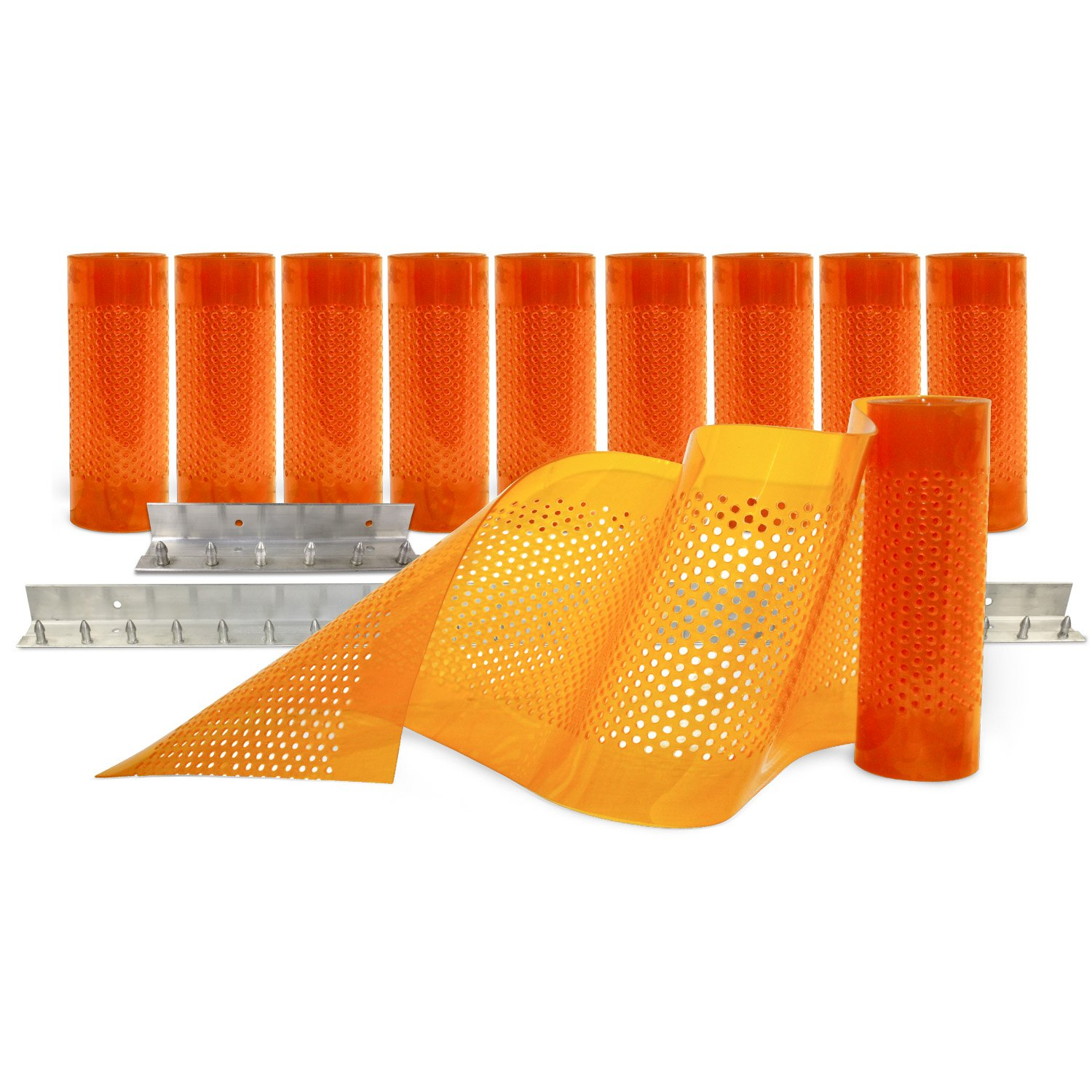 Aleco 443682 Clear-Flex II Standard AirStream Perforated PVC Strip Door Kit with MaxBullet Aluminum Mounting Hardware, 8'' Width x 84'' Height x 0.08'' Thick, Amber