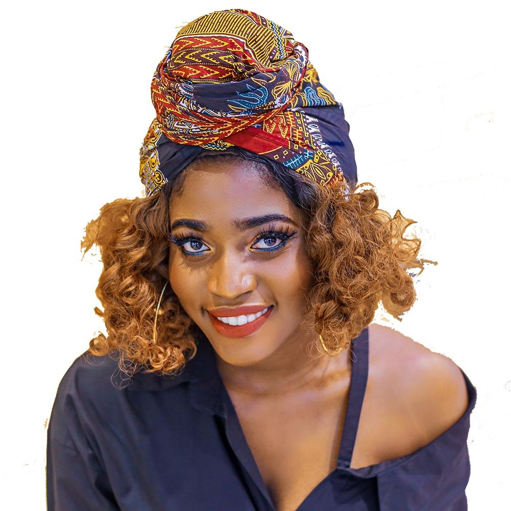 African Head Wrap Dashiki Extra Long 72''x22''Wax Print Head Scarf Tie for Women(blackdashiki)