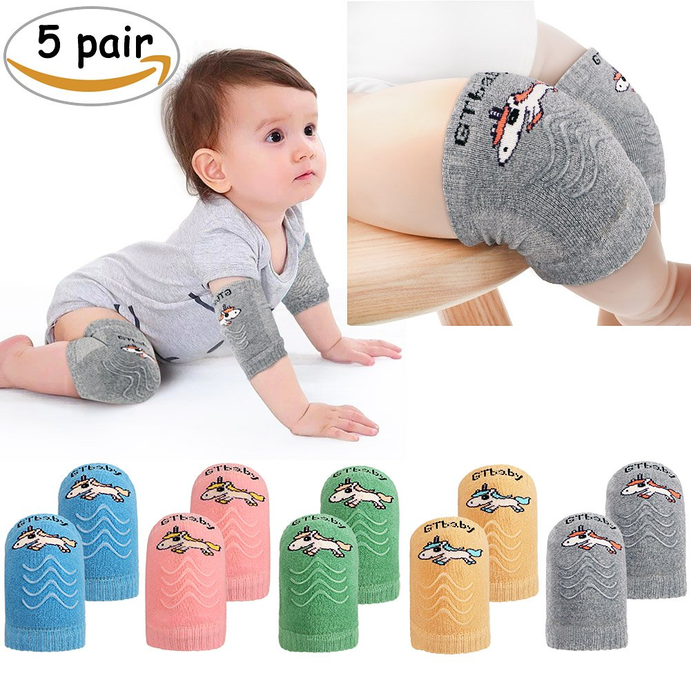 JoyJon Baby Leg Warmers for Crawling Anti Slip Breathable Infants Kneepads 5 Pairs