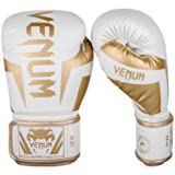 Venum Elite Boxing Gloves - White/Gold - 16oz