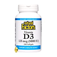 Natural Factors, Vitamin D3 5000 IU, Supports Strong Bones, Teeth, and Muscle and...