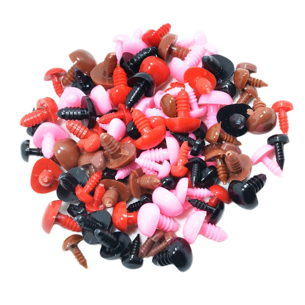 Baoblaze 100 Pieces Colorful Plastic Animal Bear Doll Screw Nose and Eyes Accessories for Kid Toys