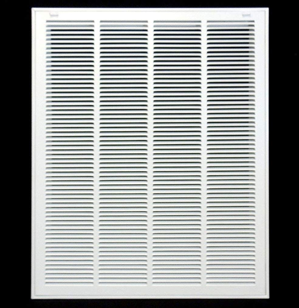 """24"""" X 30"""" Steel Return Air Filter Grille for 1"""" Filter - Removable Face/Door - HVAC Duct Cover - Flat Stamped Face -White [Outer Dimensions: 25.75w X 31.75h]"""