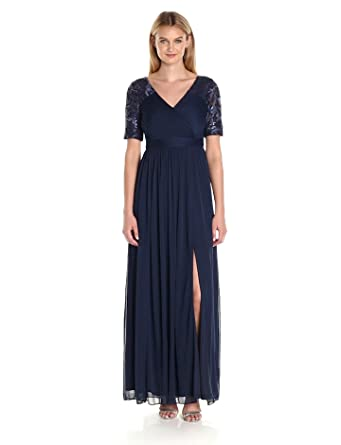 58e9f24dadd Amazon.com  Adrianna Papell Women s Seqin and Tulle Stretch Gown ...