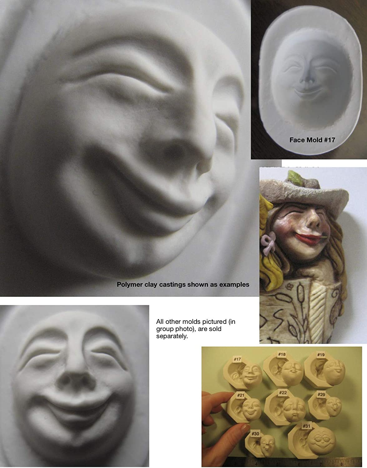 #0017 - Flexible FG Silicone Press Mold of a Doll Face Cab (Male or Female Character)