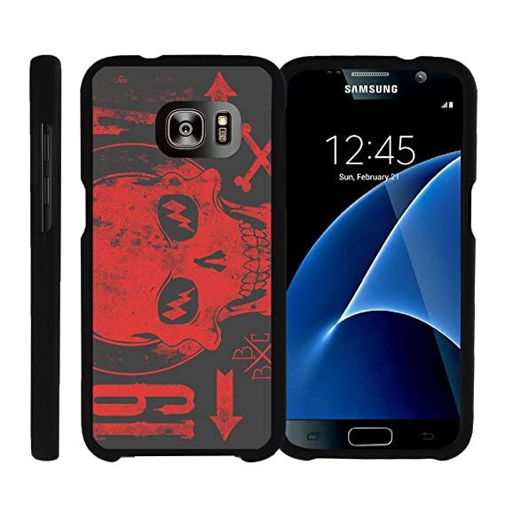 MINITURTLE Case Compatible w/ [Samsung Galaxy S7] Case, Snap on Hard Cell  Cover Intense Skull Design Galaxy S7 Case Red Skull w/Lightning