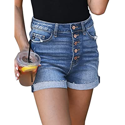 Utyful Women's High Waisted Button Fly Shorts Folded Hem Stretch Jean Denim Shorts at Women's Clothing store