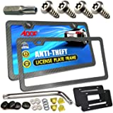 Aootf License Plate Frame Anti Theft- Tamper Proof Carbon Fiber Car Tag Holder, Heavy Duty Black Aluminum Cover for Universal