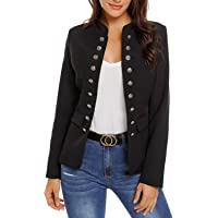 Maolijer Women's Open Front Buttons Work Office Blazer Casual Cardigan Business Jacket Suit with Pockets