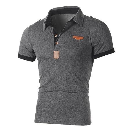 4bd7f57d9fb Mens Polo T-Shirts Short Sleeve T Shirt Men's Slim Muscle Top Blouse (2XL  Grey): Amazon.co.uk: Luggage