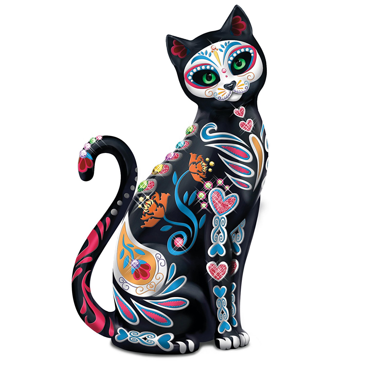 Blake Jensen Mexican Sugar Skull Art Cat Figurine: Hamilton Collection by The Hamilton Collection