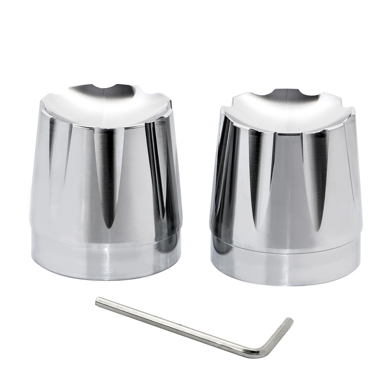 Senkauto Front Axle Cap Nut Cover For Harley Sportster Touring Dyna Touring Softail Electra Street Glide (Chrome 04)