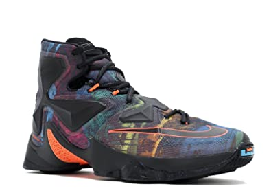 0e182d324f8a Nike Mens Lebron XIII BLACK BLACK-HYPER ORANGE-BLUE LAGOON Basketball Shoe -