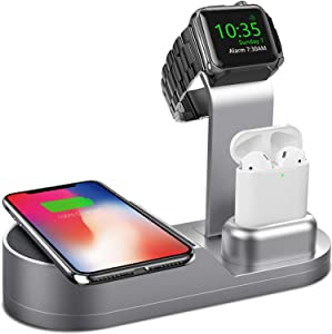 Deszon Wireless Charger Designed for Apple Watch Stand Compatible with Apple Watch Series 5 4 3 2 1, AirPods Pro Airpods and iPhone SE 11 11 pro 11 Pro Max Xs X Max XR X 8 8Plus (No Adapter)Space Gray