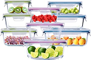 Cubirr 9PCS 1 Compartment Glass Food Storage Containers with Lids - Leakproof Meal Food Prep Containers Glass Storage Containers with Lids with Vent (3 Rectangle, 3 Square,3 Round)