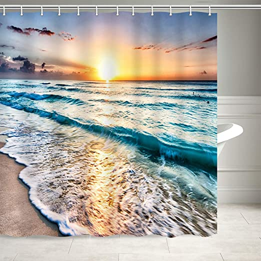 Shower Curtain Decor Set Waves and Sunset On The Beach Pattern Art Bath Curtains