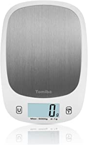 TOMIBA Digital Touch Kitchen Scale 11 lb Food Scale Ultra Slim Easy to Clean Large Display