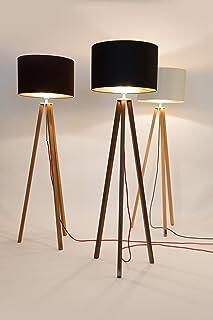 WDM Design,Stehlampe,Tripod,Wohnzimmer,Lampe,Stehleuchte,Leuchte,Wohnzimmer,Innenbeleuchtung, Schlafzimmer,Lampenschirm,Handgefertigte Leuchte,Holz Gestell,Dreibein Lampe