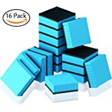 Hibery 16 Pack Magnetic Dry Whiteboard Eraser Square with Wave Edge - Magnetic Whiteboard Eraser for Home, Office and School Classroom - Blue