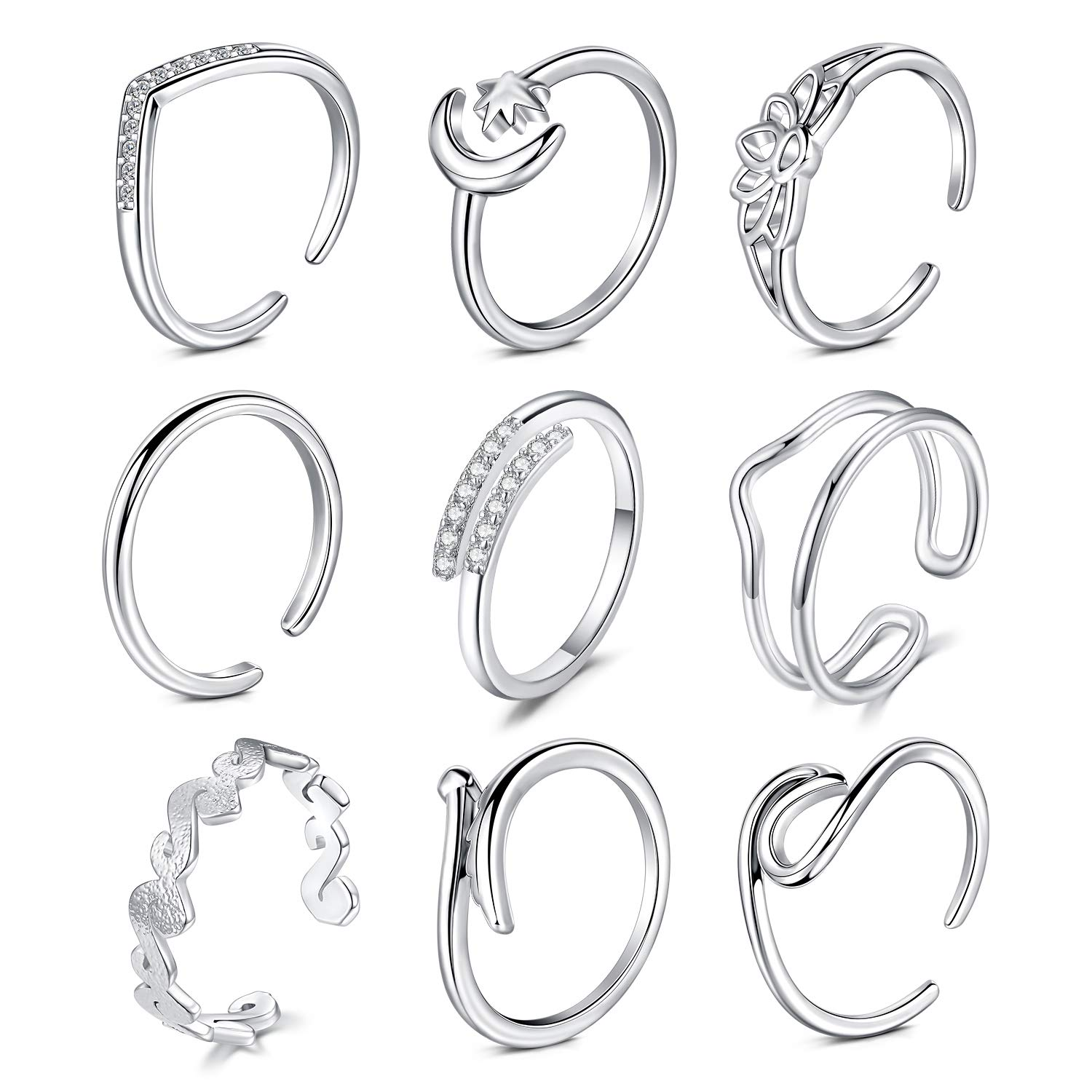 D.Bella Adjustable Toe Rings for Women Summer Beach Hypoallergenic Open Toe Ring Finger Tail Ring Set Foot Jewelry