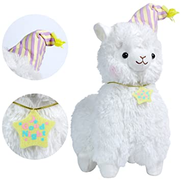 KOSBON 14 Whtie Good Night Plush Alpaca, 100% Peluche Juguetes de muñeca