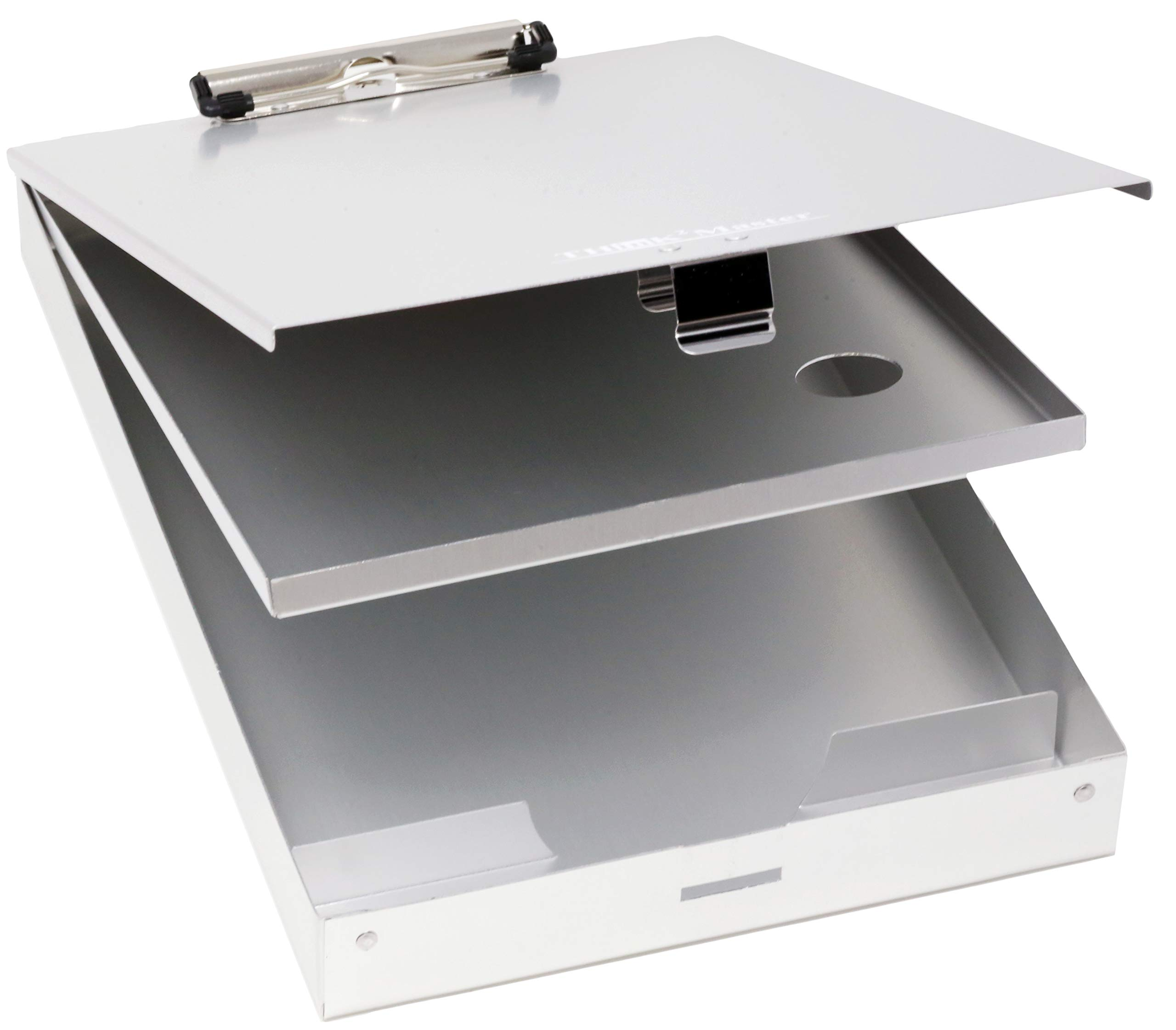 Think2Master Aluminum Dual Storage Clipboard. Durable & Sleek. Dual Tray Compartments Provides More Storage and Sturdiness and it Holds 300 Letter Sized Paper, Low Profile Clip Holds 50 Paper. by Think2Master