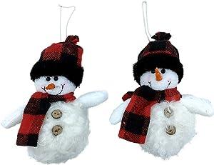 Winter Lodge Snowman Christmas Tree Ornaments - Buffalo Check Plaid - Set of 2