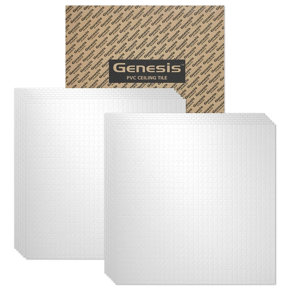 Genesis - Classic Pro White 2x2 Ceiling Tiles 3 mm Thick (Carton of 12) - These 2'x2' Drop Ceiling Tiles are Water Proof and Won't Break - Fast and Easy Installation (2' x 2' Tile)