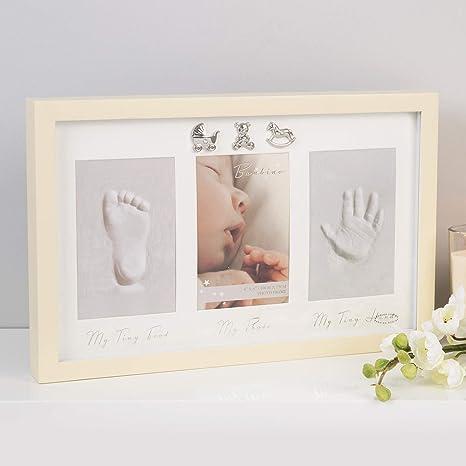 Large Silver Frame Baby Casting Kit White Triple Mount hands feet new gift