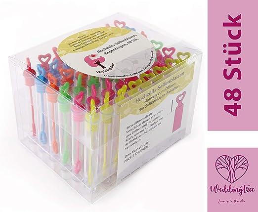 Weddingtree Premium Seifenblasen Set In Regenbogen Farben 48 Teilig Mit Herzgriff Herzallerliebst Für Hochzeit Taufe Geburtstag Goldene Hochzeit