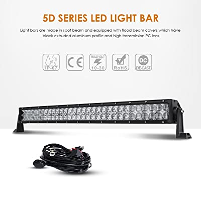 "Auxbeam 32"" LED Light Bar 180W Off Road Driving Lights LED Work Light Spot Flood Fog Lamp 5D Lens with Wiring Harness for Car, Jeep, Vehicle, ATV, UTV, Pickup: Automotive"
