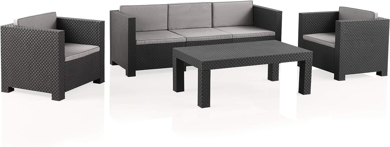 Shaf - Diva Tropea | Set Muebles de Jardín de Color Antracita | Fabricado en España con Materiales Reciclados
