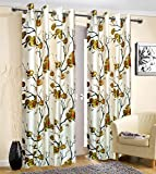 Prince Printed Polyester 4 x 8 ft Eyelet Window/Door Curtains (Green) -Set of 2