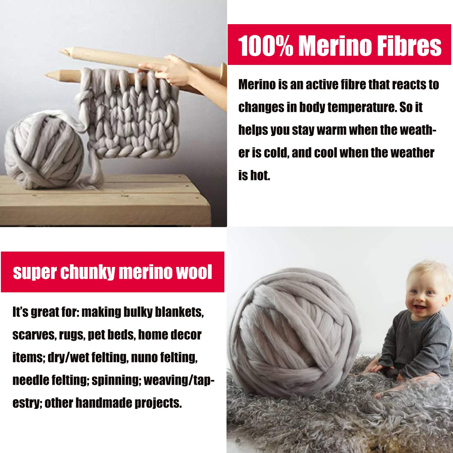 welltree Merino Soft Chunky Wool Yarn for Arm Knitted DIY Your Favorite Thick Blankets (Grey - 6.6 lbs) by welltree (Image #7)