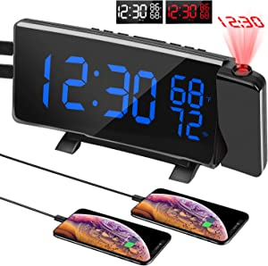PEMOTech Projection Alarm Clocks for Bedrooms,【Temperature & Humidity Display】 7'' Large Curved LED Display,180° Rotation,FM Radio Digital Alarm Clock Projection on Ceiling with 2 USB Phone Charger