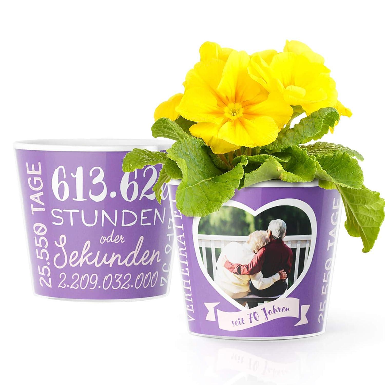 70 Hochzeitstag Geschenk Blumentopf ø16cm Jahrestag Geschenke Zur Gnadenhochzeit Für Mann Oder Frau Mit Herz Bilderrahmen Für 1 Foto 10x15cm