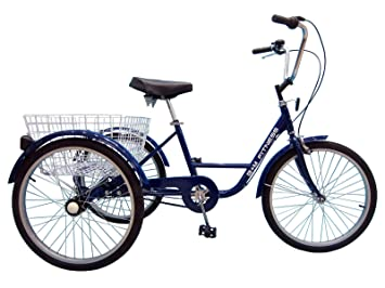 B+M Fitness Triciclo para Adultos - 24 Pulgadas de 6 Marchas Azul - Incluye Cesta y - Timbre para Bicicleta: Amazon.es: Deportes y aire libre