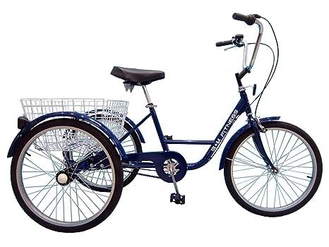 B+M Fitness Triciclo para Adultos – 24 Pulgadas de 6 Marchas Azul – Incluye