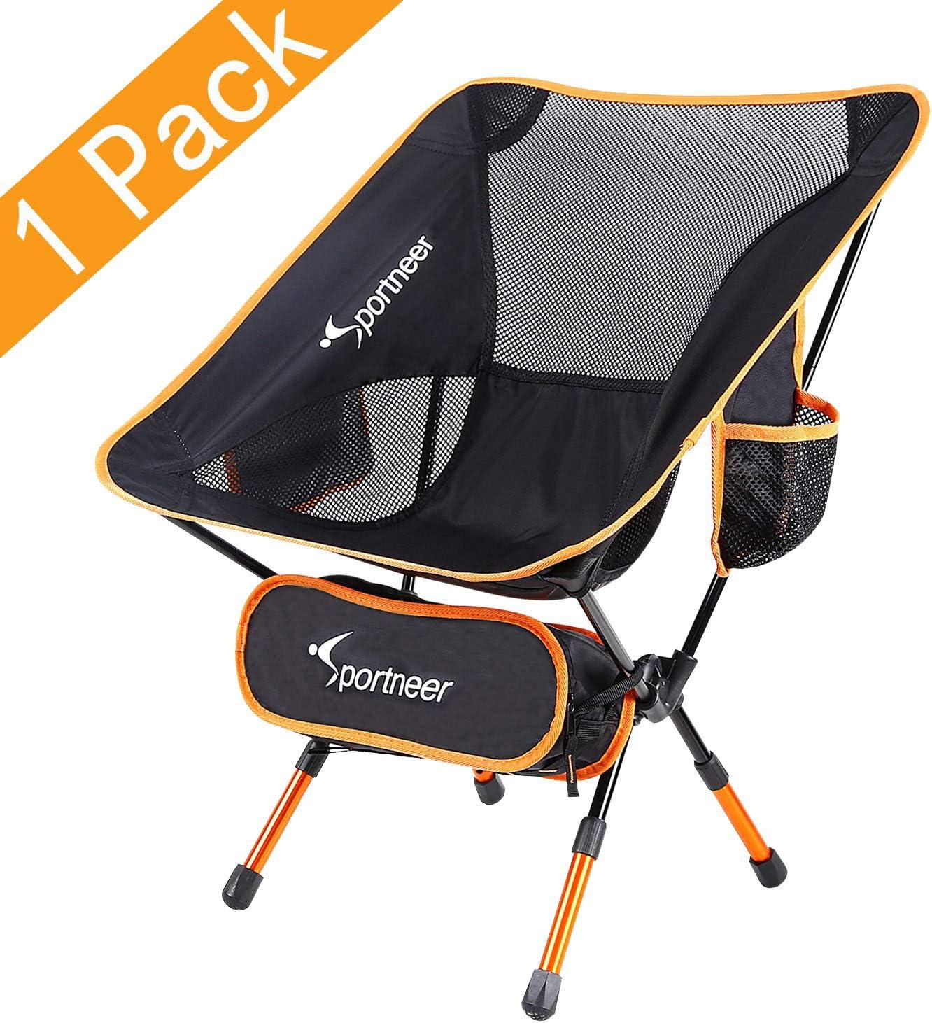 Sportneer® - Silla de camping plegable, portátil, ligera, ideal para excursión/senderismo/picnic/pesca/playa/jardín, peso de carga: 158kg