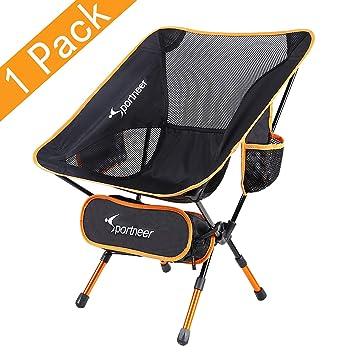 Sportneer- Silla de Camping Plegable, portátil, Ligera, Ideal para excursión/Senderismo/Picnic/Pesca/Playa/jardín, Peso de Carga: 158 kg