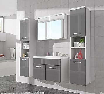 Badezimmer Badmöbel Paso XL LED 80 Cm Waschbecken Hochglanz Grau Fronten    Unterschrank 2x Hochschrank Waschbecken